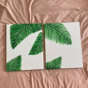 """Other - Set of 2 palm leaf canvas paintings 11""""x14"""""""